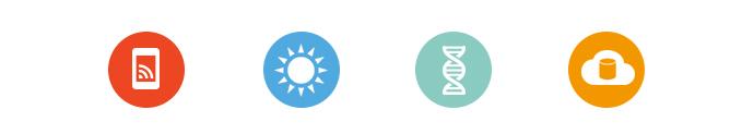 Logos des départements scientifiques de Ionis-STM