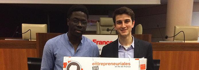 Nandjafot Mendy et Stéphane Silva Teixeira (Ionis-STM promo 2018), lauréats du prix Dream Team des Entrepreneuriales Île-de-France